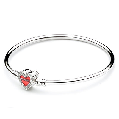 Charm Bracelets Bangle 925 Sterling Silver Pave Clear CZ Heart-Shaped Enamel Snap Clasp