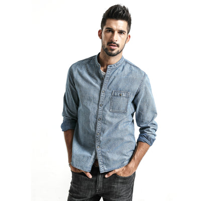 Denim Shirt Men 100% Cotton Long Sleeve