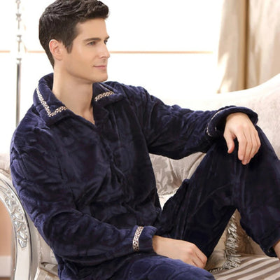 Mens Pyjamas Fleece Long Sleeve