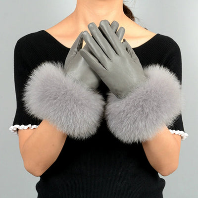 Leather Gloves Real Sheepskin & Fox Fur