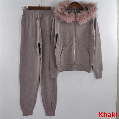 Knitted Zipper Fur Hooded Sweater for Women 2 Pieces Set  Cardigan Tops and Pants