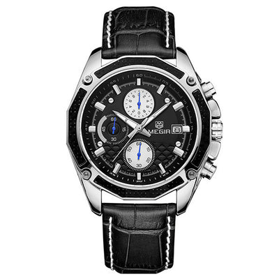 Men Watches Genuine Leather Chronograph Watch
