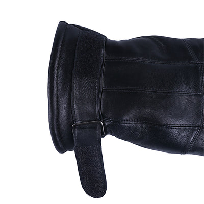 Leather Gloves Full Finger Lining Thick Sheep Fur for Men