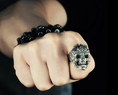 Skull  Ring 925 Sterling Silver Vintage Fashion