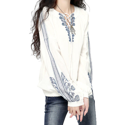 Long Sleeve Shirts  Women Embroidery