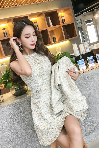Womens Dress Suits Winter Tweed 2 Pieces Set