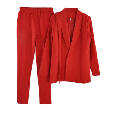 Women's Suits V-neck Belted Jacket and Long Pants Set