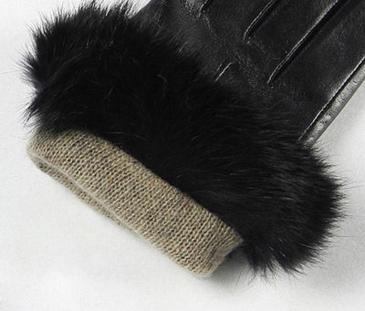 Leather Gloves Rabbit Hair Wrist for Women