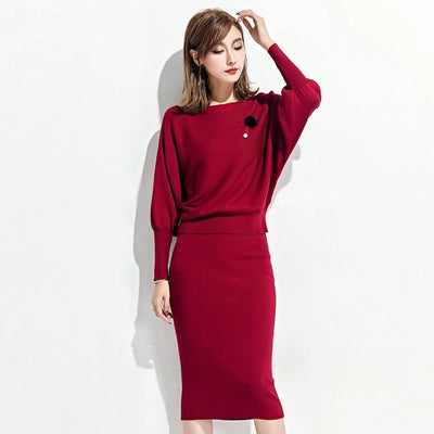 Womens Tracksuits Sweater and Skirt Elastic Solid