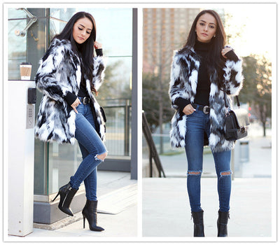 Womens Winter Coats Faux Fur Loose Cut