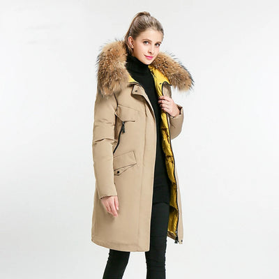 Womens Winter Coats Stand Collar Hood  Real Fur