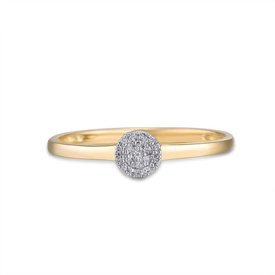 Gold Sparkling Diamond Dainty Round Cirle Ring for Women