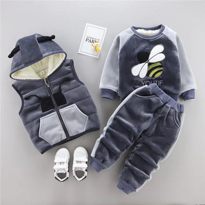 Winter Clothes for Kids 3pcs Set Warm Thicken Cartoon