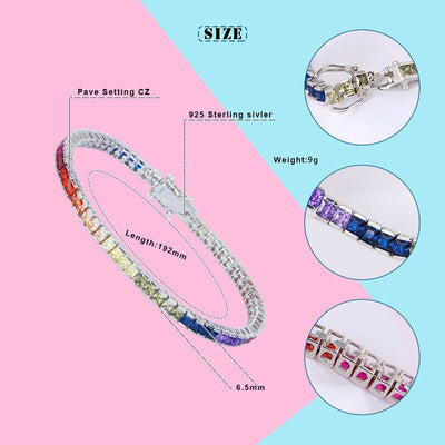 Sterling Silver Bracelet Square Crystal CZ  Rainbow Magnetic