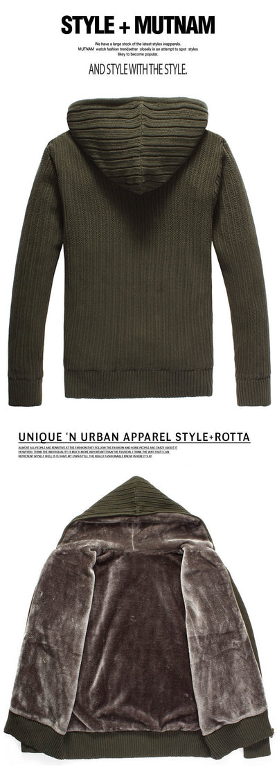 COTTON Knitted Sweaters for Men  Lined Cashmere Fleece  Hooded