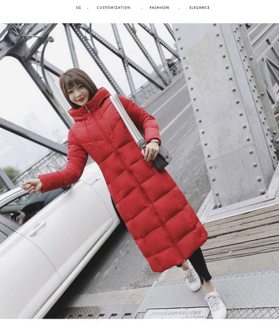 Winter Jacket Women Coats Cotton Padded  Long Hooded Thicken Plus Size