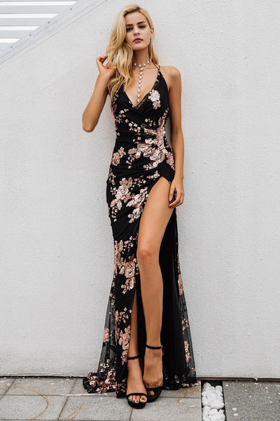 Christmas Party Dresses Sexy Lace Up Halter High Split Maxi Dress