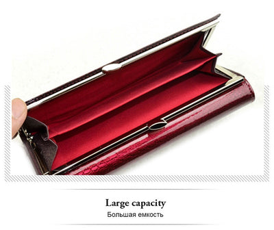 Long Genuine Leather Wallets for Women  Luxury Patent Crocodile
