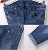 Denim Shorts Pants for  Women Stretch Knee Length Plus Size