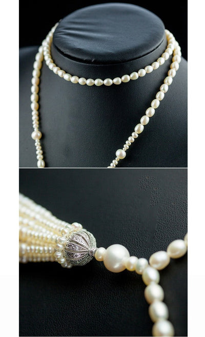 Long Pearl Necklace Natural Freshwater Pearl