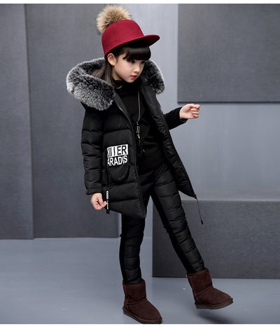 Winter Clothes for Kids Girls 3 Pieces Set  Cotton Coat with Fur Hood