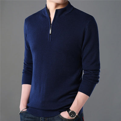 Cashmere Knitted Sweaters for Men Pullover 1/4 Zipper Turtleneck