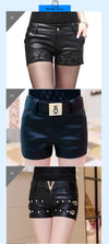 Black Leather Shorts Women  Flower Embroidery Beaded