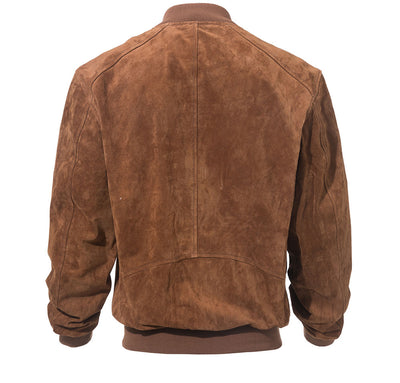Real Leather Jacket Mens  O-Neck Collar