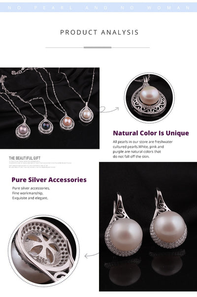 Pearl  Jewelry with  Sterling Silver Clasp  for Woman  Earrings Ring Pendant Set