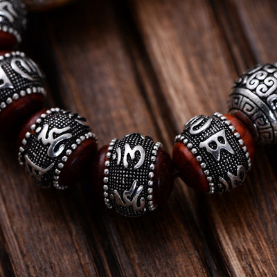 Sandalwood Beaded Bracelets  Carving Six Words Mantra with Silver Pixiu