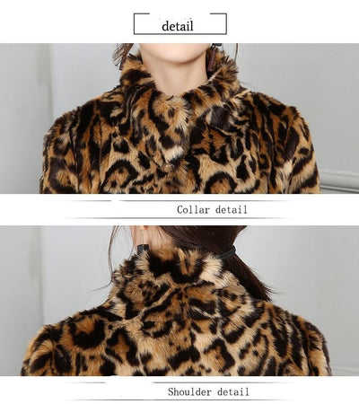 Winter Coats for  Women Leopard Faux Fur Plus Size
