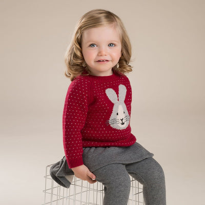 Cotton Wool Sweaters for Girls   Rabbit Pattern
