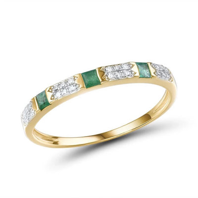 Gold Ring for Women with Genuine Shiny Diamond Fancy Blue Sapphire Emerald