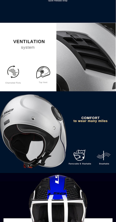 Motorcycle Helmets 3/4 Open Face Airflow
