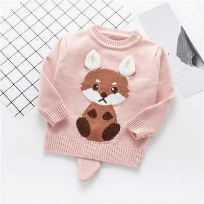 Causal Knitted Sweters for Girls Cartoon Rabbit