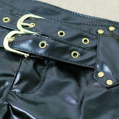 Leather Shorts Women  Double Sashes Low Rise Waist Micro MINI Shorts With Zipper Open