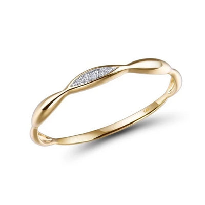 Gold Ring  for Women Genuine with Shiny Diamond