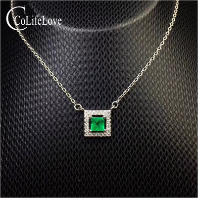 Silver  Necklace with Natural Emerald Pendant