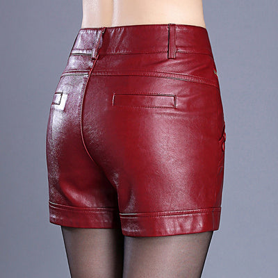 Leather Shorts Women  Straight Slim High Waist Plus Size