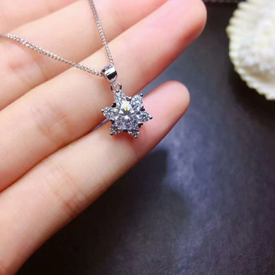Sterling  Silver Necklace with Snowflake  Moissanite Gemstone  Pendant