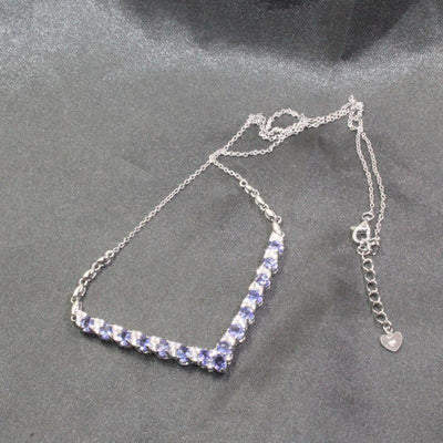 Sterling Silver Necklace with Natural Tanzanite Jewelry