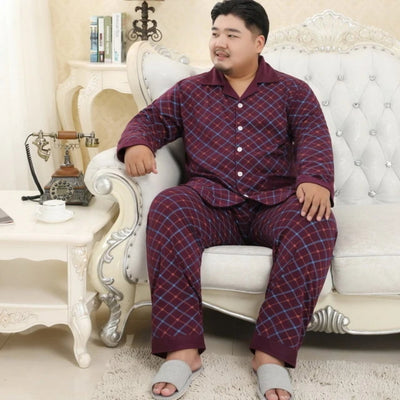 Cotton Pajamas for Men  2 Pieces  Set  Spring Simple Plaid  Short Sleeves   Plus Size