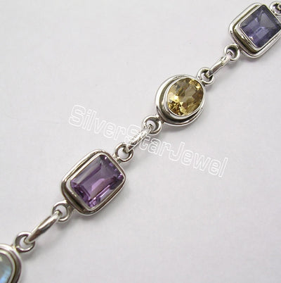 Silver Bracelet for Women with MULTI  STONES COLORFUL Gem HANDMADE