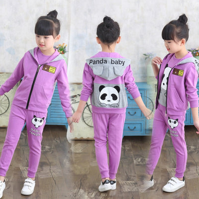 Clothes for Kids Girls  3pcs  Set  Hooded Panda  Suits