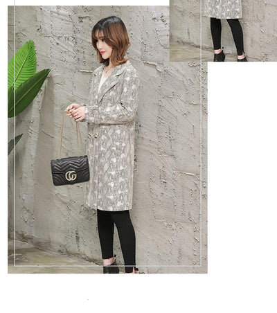 Trench Coats for Women Snake Print Plus Size  Long Sleeve Vintage
