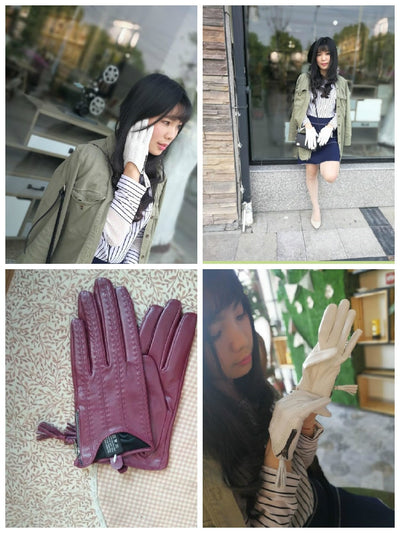 Winter Genuine Leather Short Gloves  for Women Thin Velvet Lined