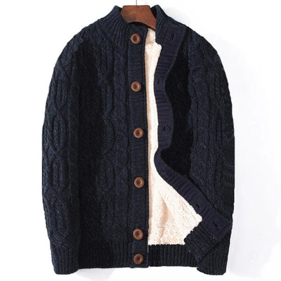 Cotton Plaid  Knitted Sweater  for Men Plus Size Coarse Wool Liner