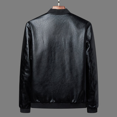 Mens Leather Jacket  Plus Size  Motorcycle Windbreake