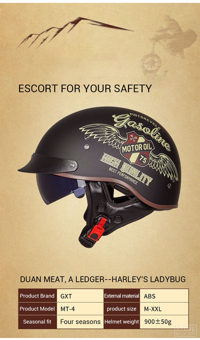 Scooter Helmets Vintage  Open Face With DOT Certification