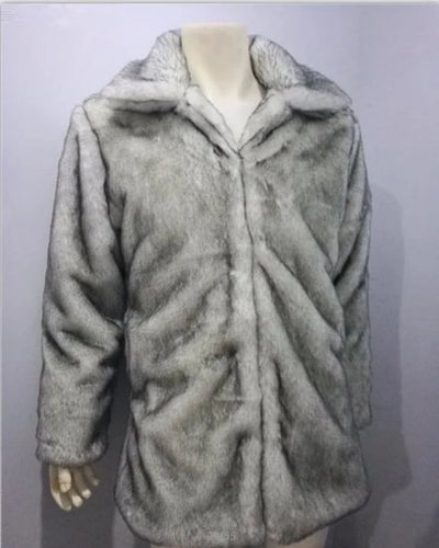 Faux Fur Long Coat Men  Camouflage Warm  Plus Size